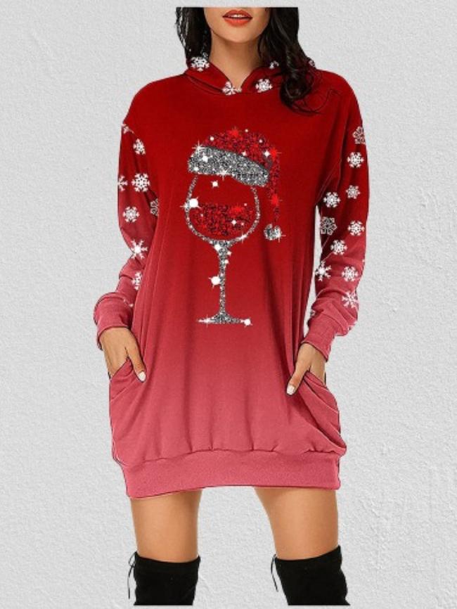 Christmas Printed Hooded Sweatshirt Dress