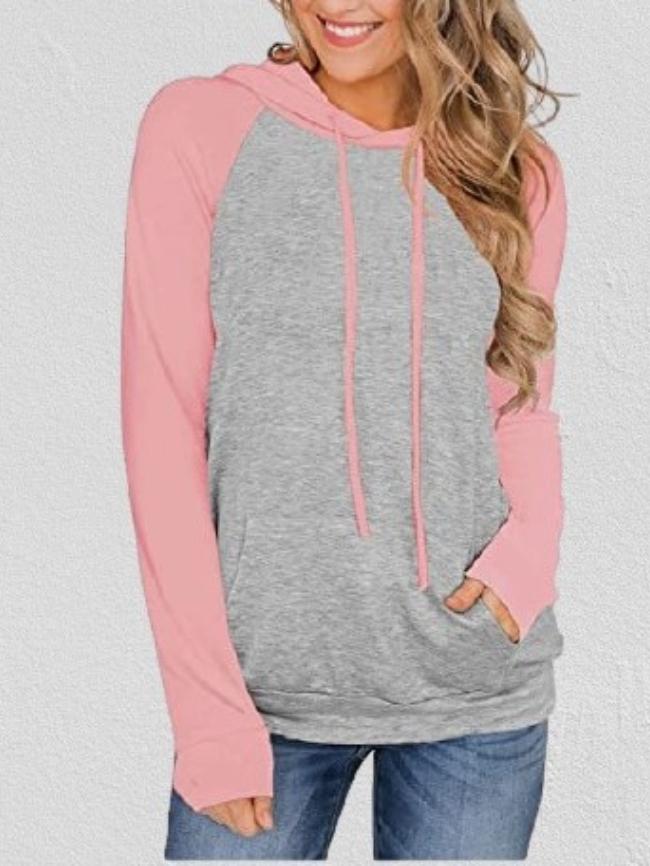 Colorblock Drawstring Hooded Pocket Thin Sweatshirt
