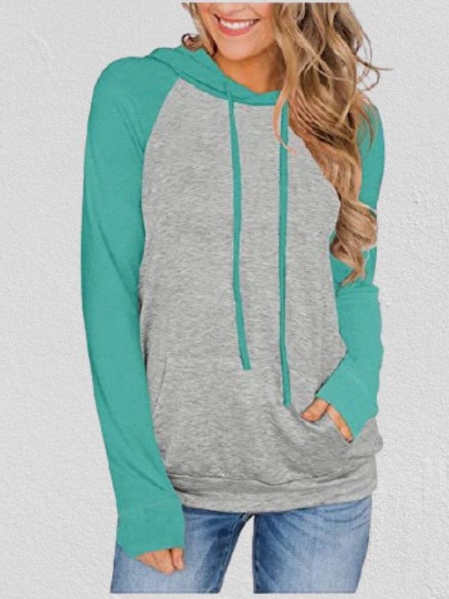 Colorblock Drawstring Hooded Thin Sweatshirt