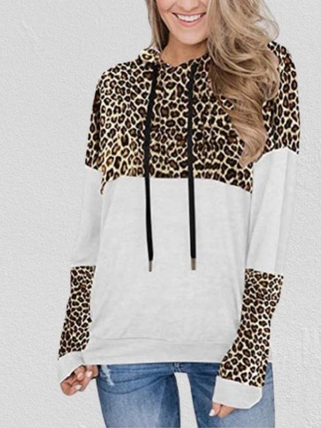 Colorblock Leopard Print Drawstring Hooded Sweatshirt