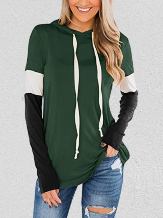 Colorblock Long-sleeved Drawstring Hooded Sweatshirt