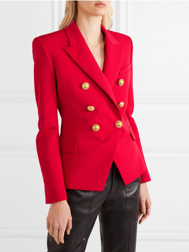 Double Breasted Lapel Collar Flap Detail Blazer