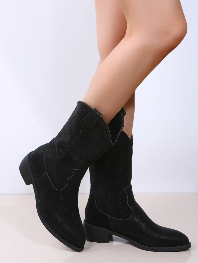 Embroidered Chunky Heel Short Tube Boots