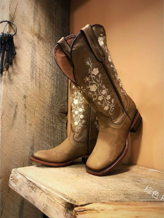 Floral Embroidered Square Toe Boots