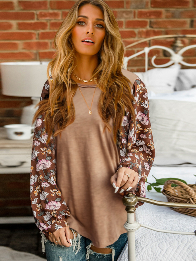 Floral Printed Round Neck Pullover Top