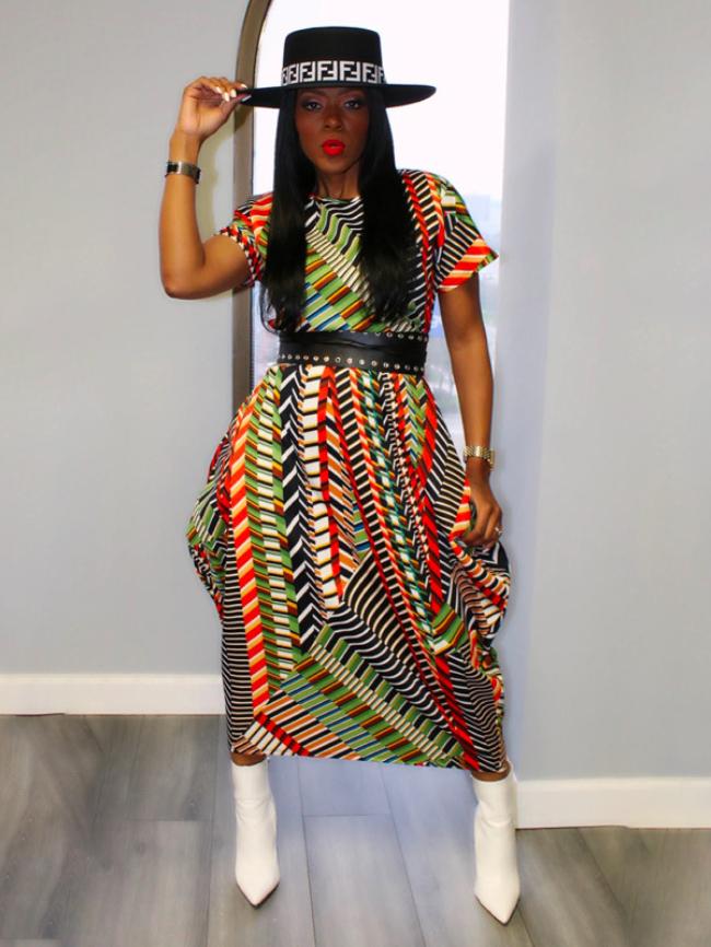 Geometric Printed Dress Without Belt