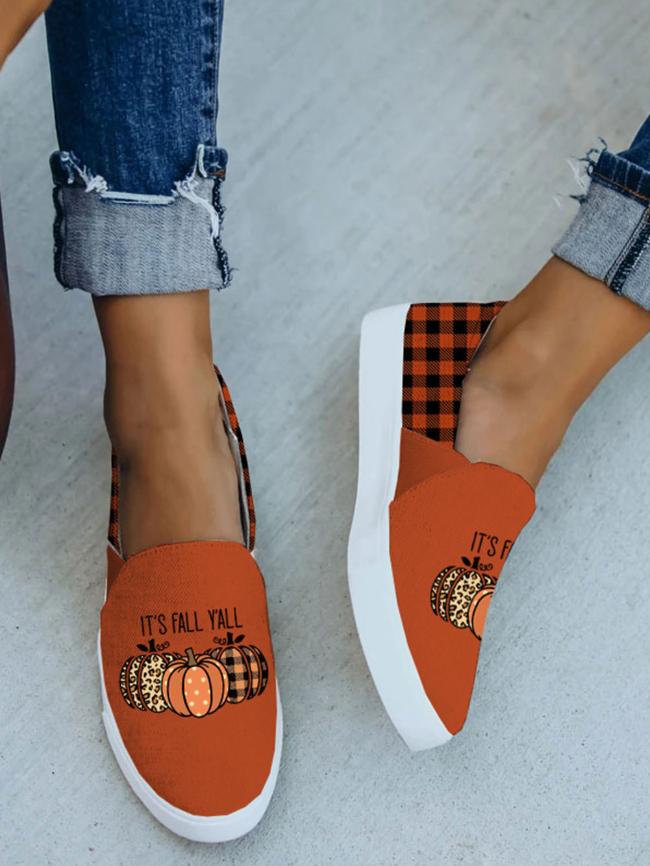 Halloween Letter Pumpkin Plaid Print Slip-on Sneakers