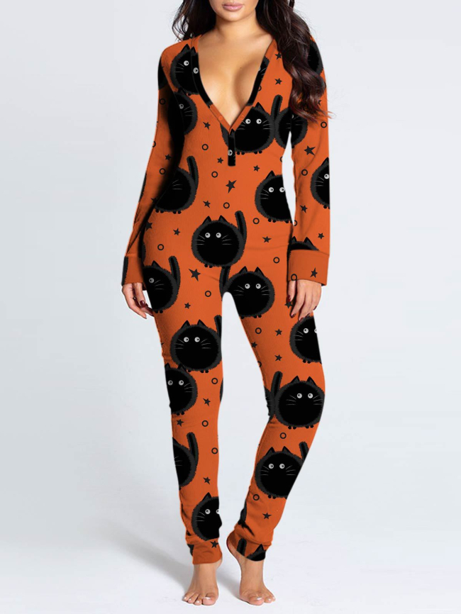 Halloween Printed Button-flap Romper Loungewear