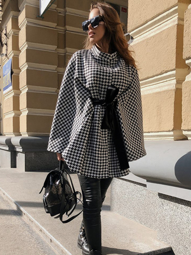 Houndstooth Bow Lace-up Cloak Coat