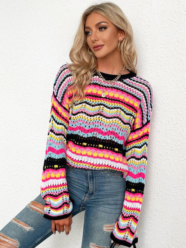 Crew neck contrast striped sweater