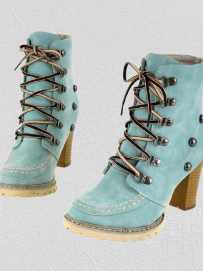 Lace-up Rivet High-Heel Martin Boots