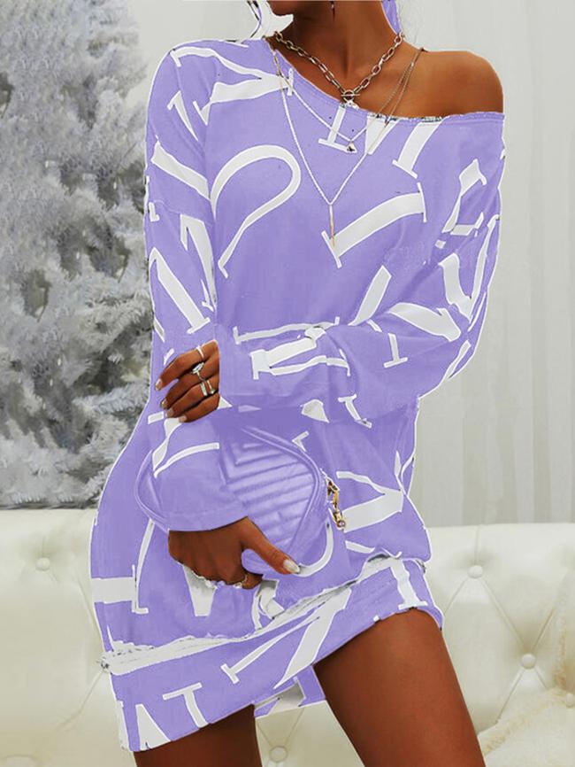 Letter Printed Drop Shoulder Long Sleeve Dress