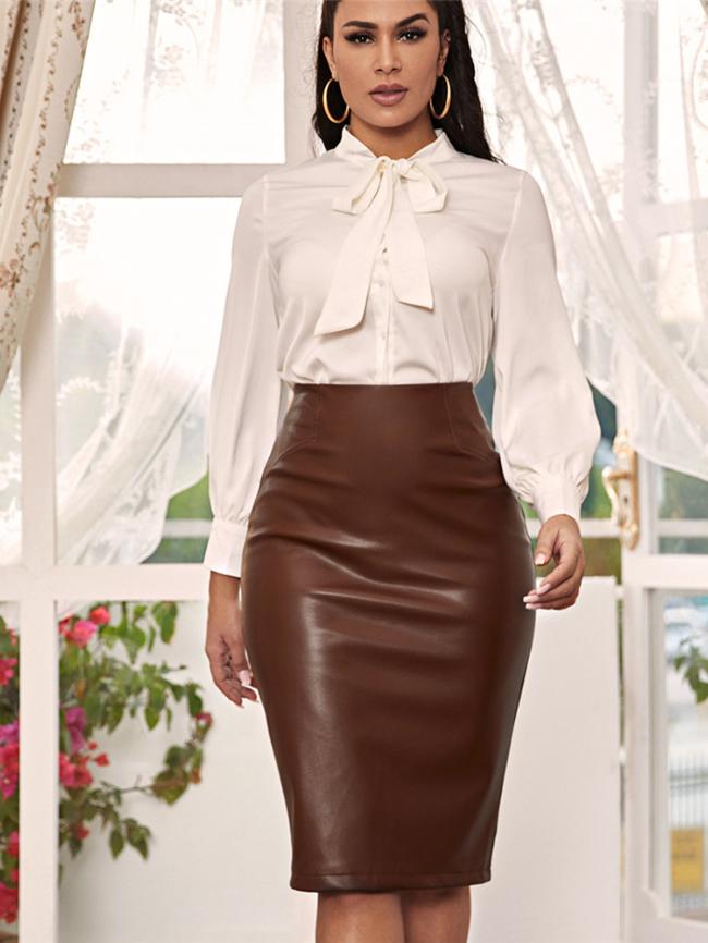 PU Brown Skinny High Waist Skirt