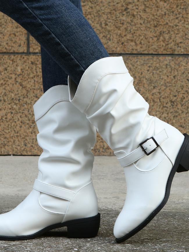 Pleated Belt Buckle Chunky Heel Boots