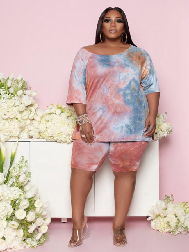 Plus Camo Tie-dye Printed T-shirt and Shorts Set