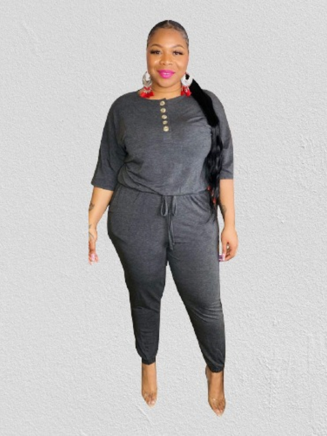 Plus Solid Drawstring Button Rompers