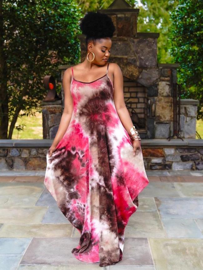 Plus Tie-dye Print Dress With Pockets