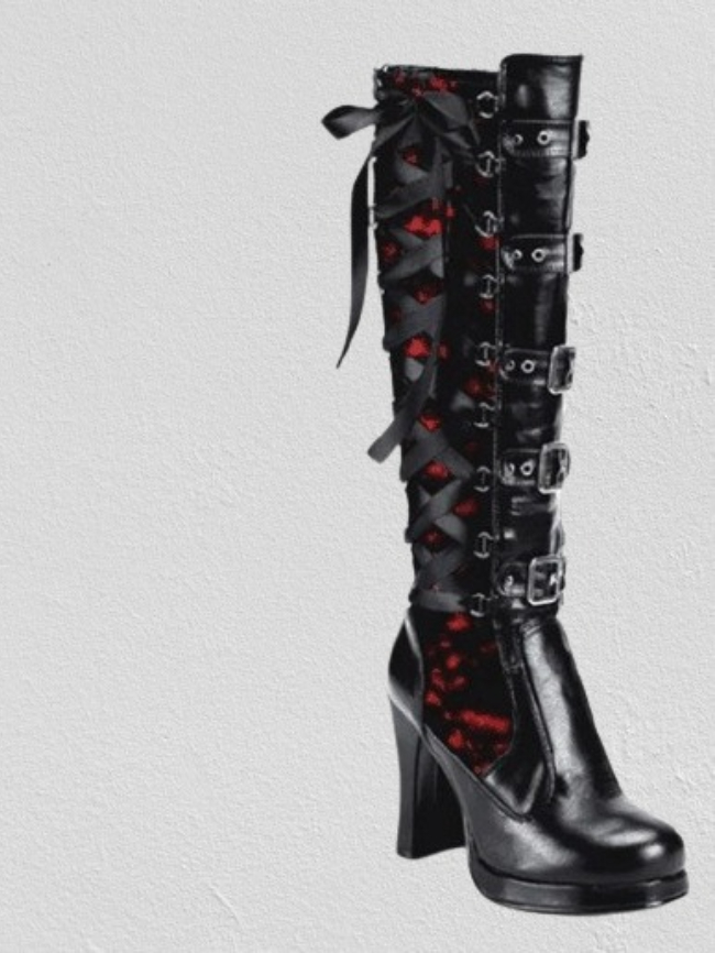 Rivet Fringed Chunky High Boots