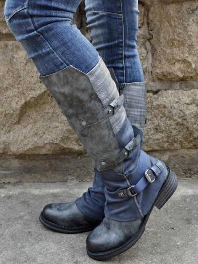 Side Zipper Belt Buckle High Boots