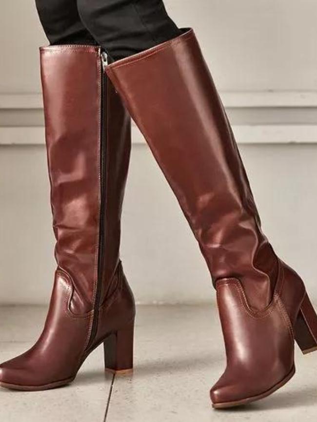 Side Zipper High-Heel Straight Boots
