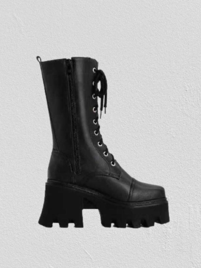 Side Zipper Lace-up Platform High Riding Boot