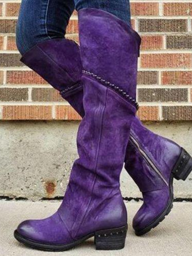 Side Zipper Round Toe Leather Boots