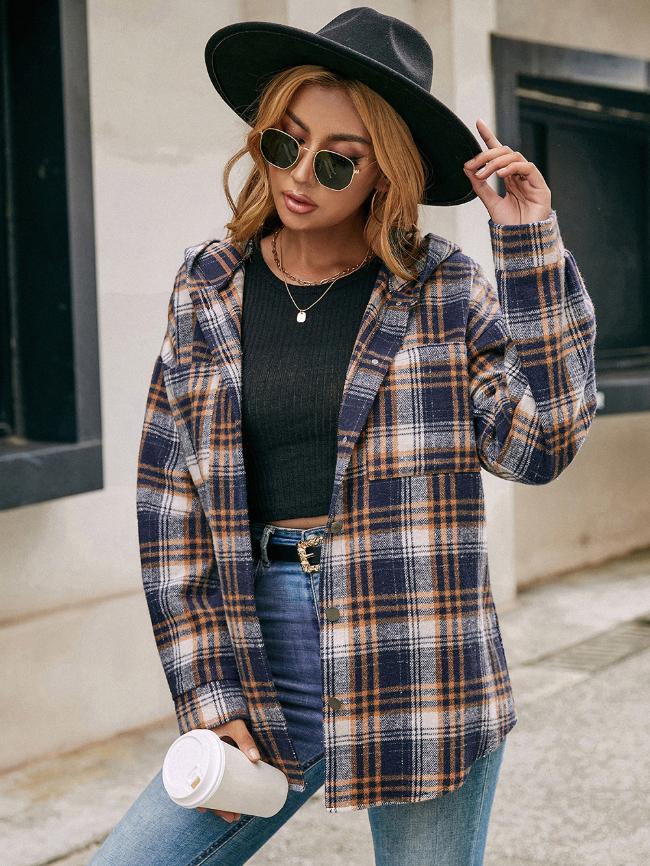 Single-breasted Plaid Hooded Jacket