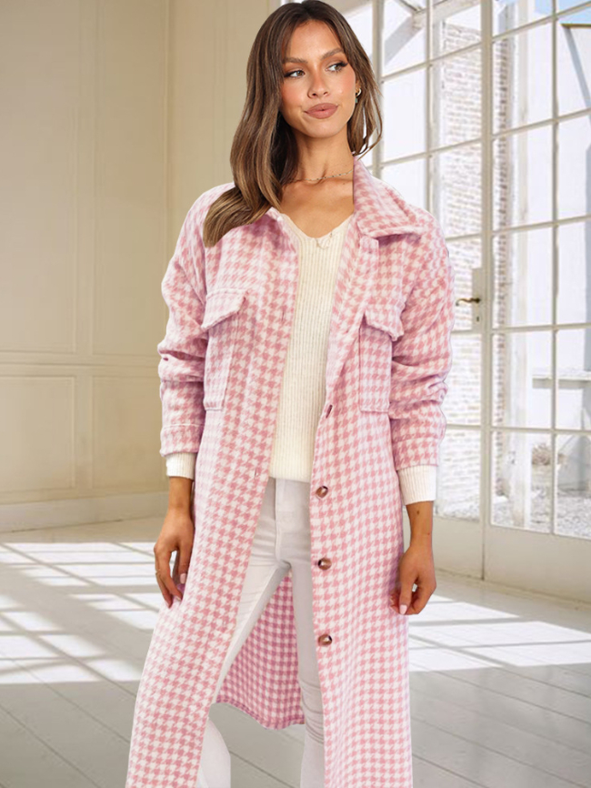 Single-breasted Plaid Printed Woolen Coat