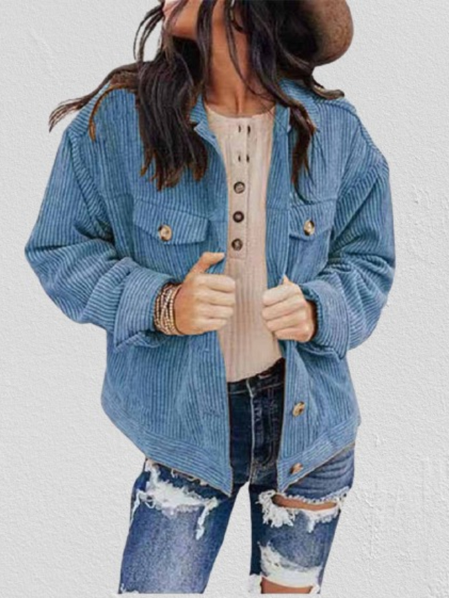 Solid Button Down Pocket Corduroy Jacket