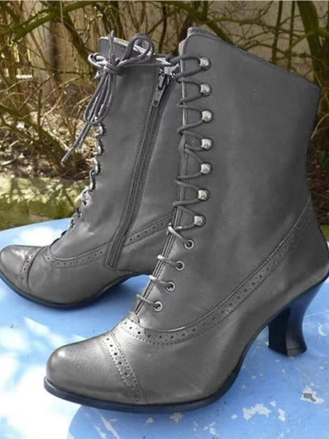 Solid Lace-up Chunky Heel Martin Boots