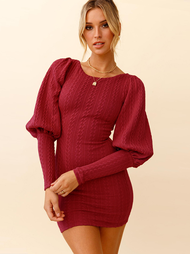 Solid Lantern Sleeve Knitted Dress