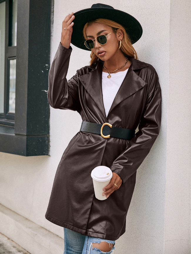 Solid Leather Lace-up Coat Without Belt