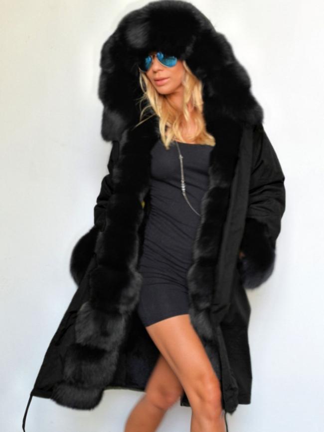 Solid Midi Fur Collar Hooded Coat