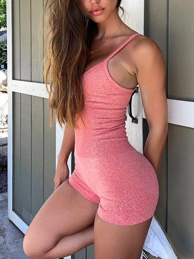 Solid Seamless Sports Yoga Jumpsuit