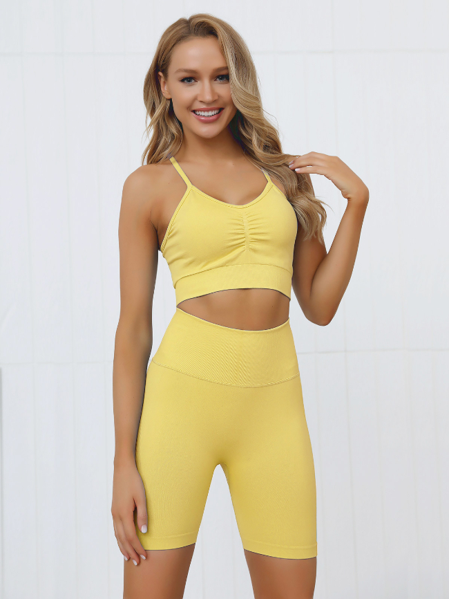 Solid Sling Bra And Shorts Sport Set