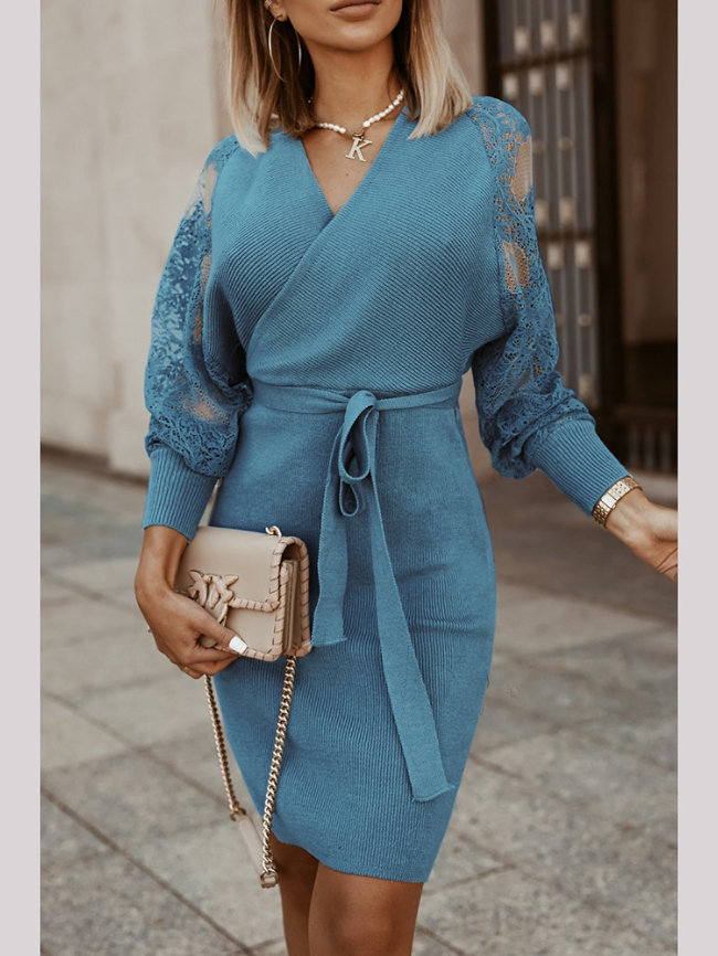Solid Slits V-neck Lace Knitted Dress