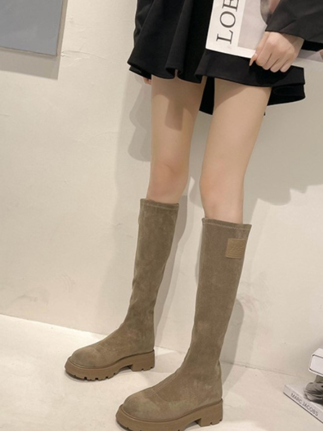 Solid Suede Over The Knee Block High boots