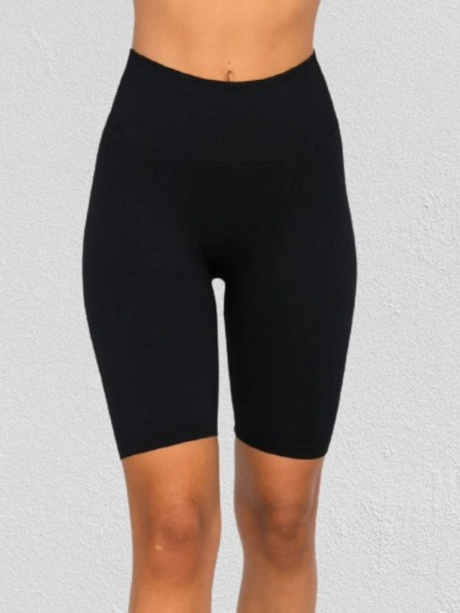 Solid Tight High Rise Sports Shorts