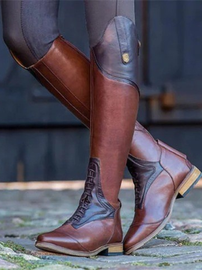 Solid Zipper Lace-up High Riding Boot