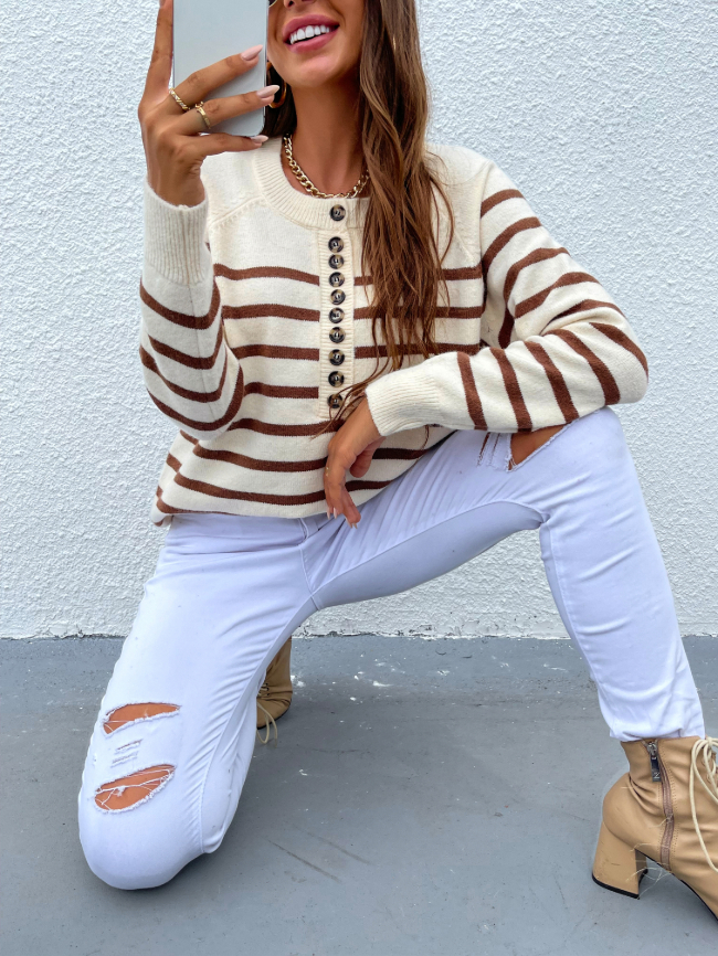 Striped Button-Front Pullover Sweater