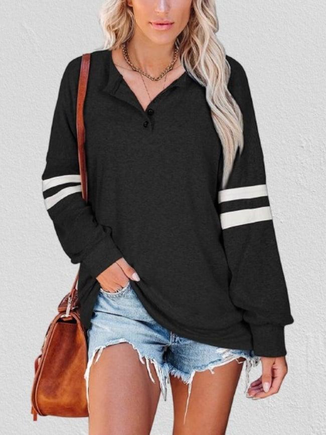 Striped Long Sleeve V-Neck Buttoned Thin Sweatshirt