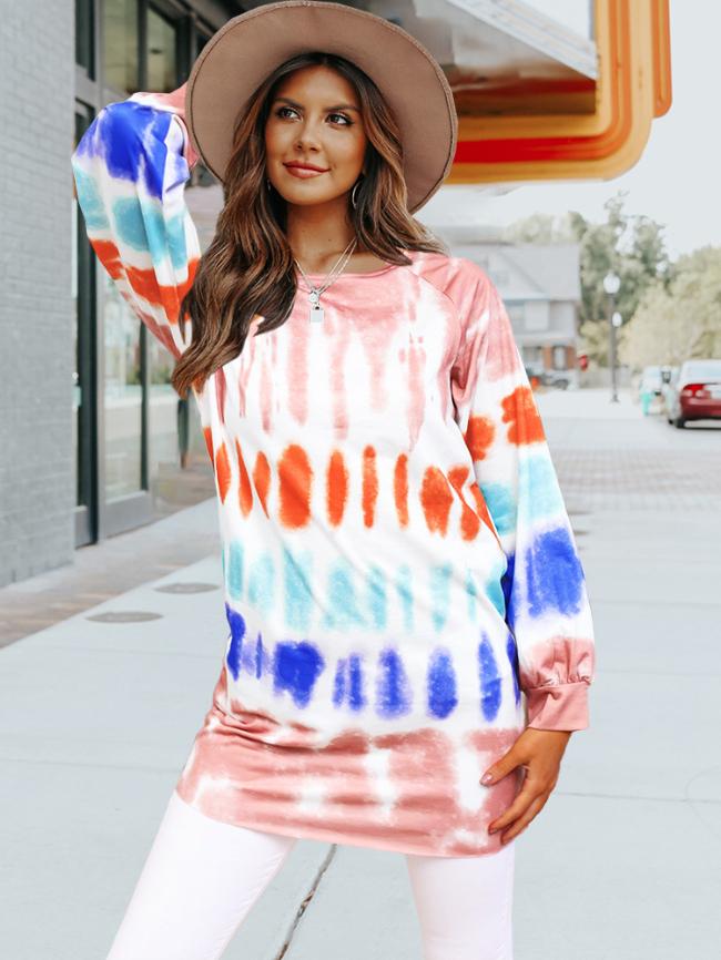 Tie-dye Printed Long Sleeve Midi Dress
