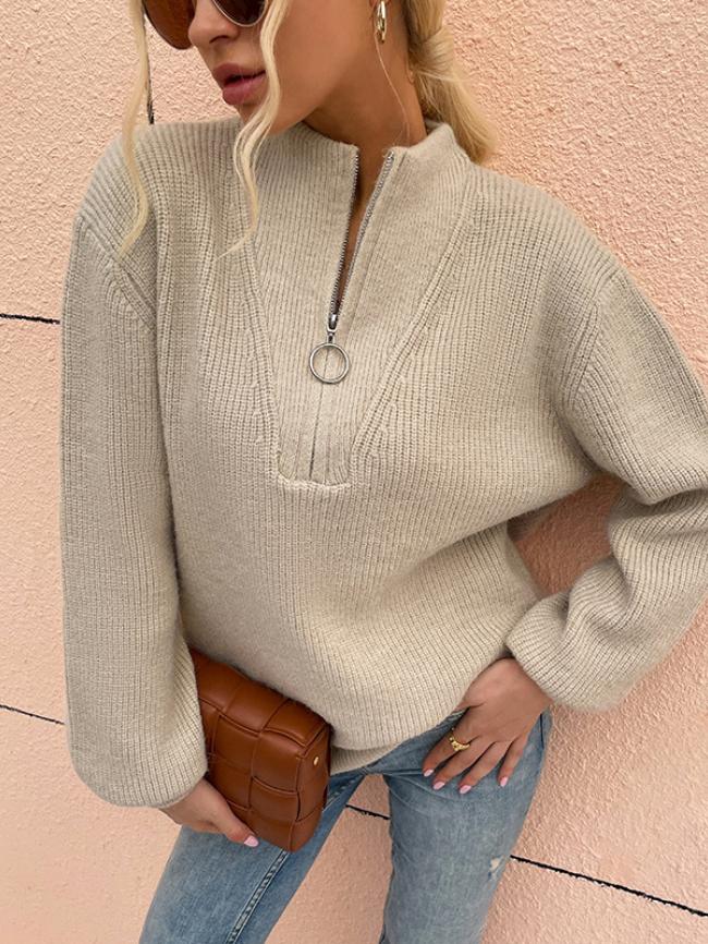 V-neck Zipper Decor Lantern Sleeve Sweater