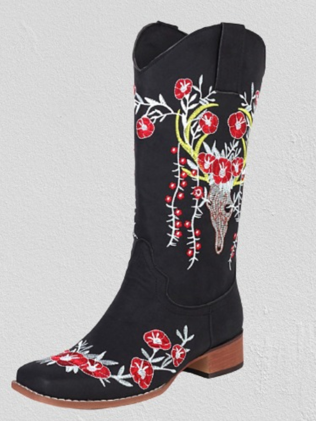 Vintage Flower Embroidered Square Toe Boots