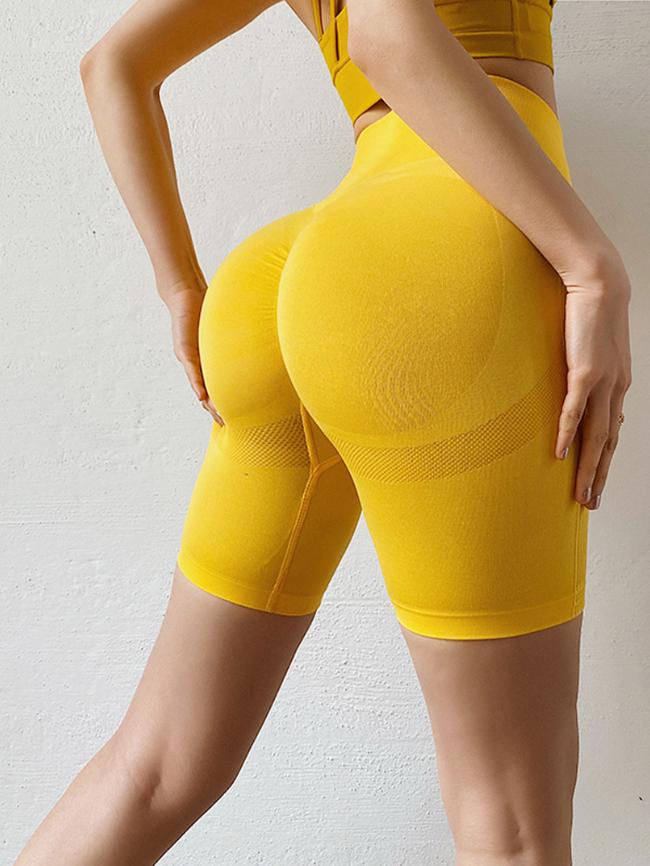 solid color skinny high waist yoga shorts